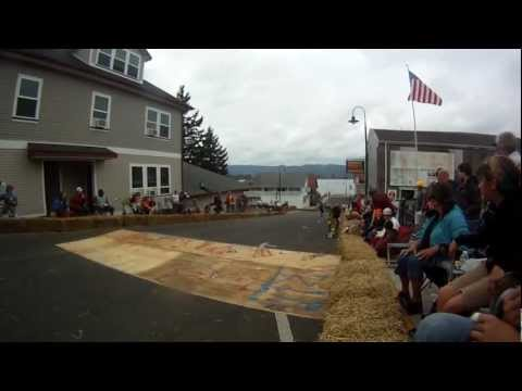 Kid Taken out Crossing Ramp at Cathlamet DH Race