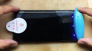 How To Use Nano Optics Curved Glass, UV Lamp Light Liquid full Glue Glass For Galaxy Note 9