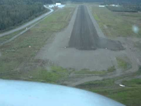 Landing Dawson City YT Rwy 20 Cockpit View