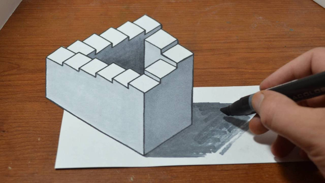 3d Staircase Drawing Drawing 3d Penrose Staircase