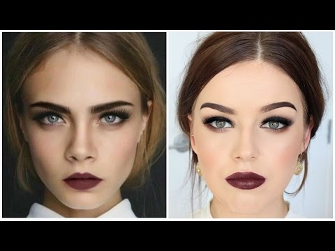 Cara Delevingne Inspired Makeup Tutorial || Smokey Eyes & Dark Lips