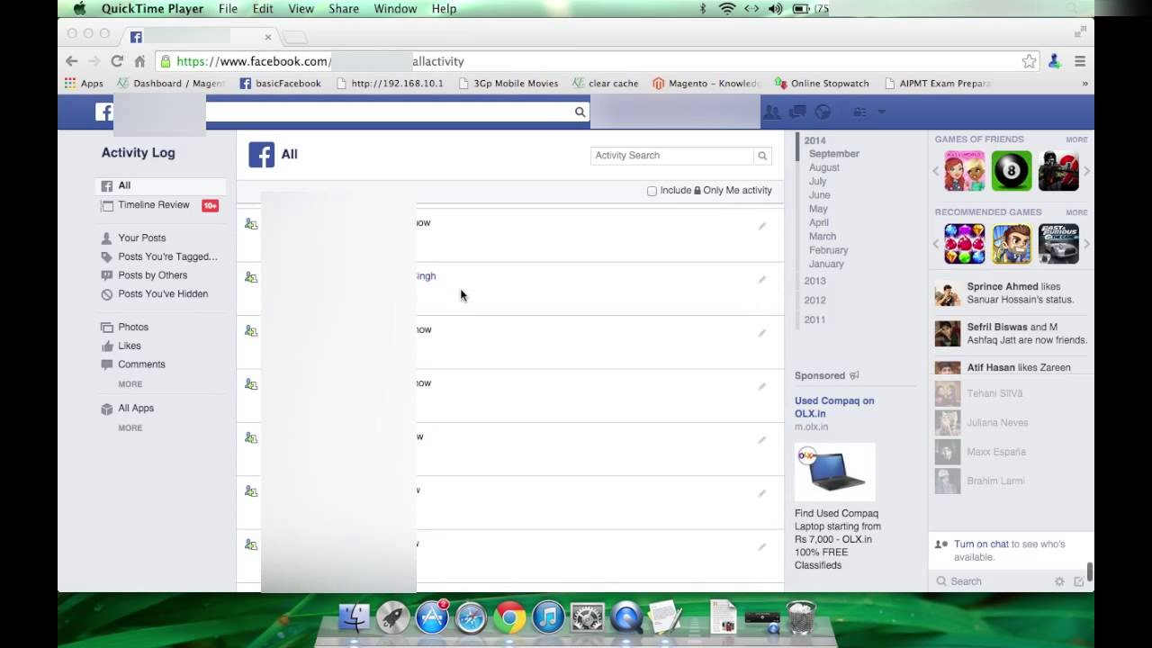 how to delete activity log on facebook - YouTube