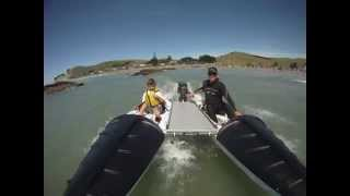 Wingman kayaks used as motorboat for a day on the ocean with family
