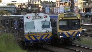 Hitachi, Siemens & Comeng Sparks near Malvern - Connex trains (Metro Trains Melbourne)