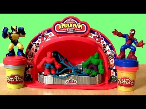 PLAY DOH Marvel Make n Display Spiderman Hulk The Avengers Super Hero Adventures playdoh Iron Man