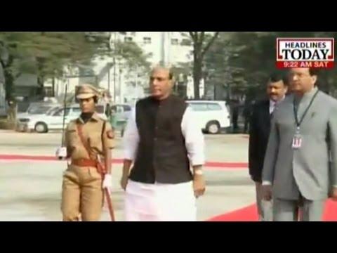 Rajnath Singh arrives for DGP conference in Assam