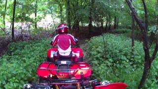 Honda Rancher 420 and Recon 250 playin in a mud hole