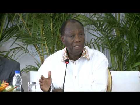 RTI: Bas-Sassandra: Conference de presse de Alassane Ouattara à San Pedro