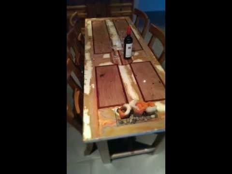 Finished Recycled Door Table Construction Project