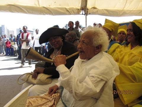 96 Years old Ethiopian laughing contagiously in Addis Ababa