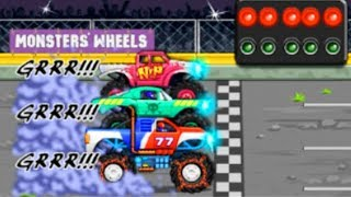Colorful game - Monster truck race 2D stuns gameplay cartoon for kids