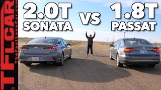 Won It By A Nose! VW Passat vs Hyundai Sonata Drag Race