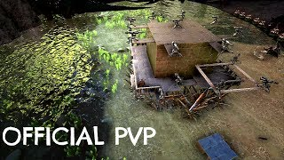 METAL TURRET RAFT MAX BUILD w/ Harpoon Gun - Official PVP (E134) - ARK Survival