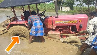 Mahindra Tractor stuck in mud | EICHER 485 Pulling Out Come to Village