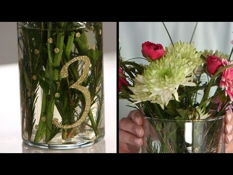 DIY Floral Centerpiece with Glitter Table Numbers   DIY Wedding