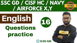 Class 16   #SSC GD/CISF HC/AIRFORCE X,Y/NAVY    English    By Prince Sir    Question Practice