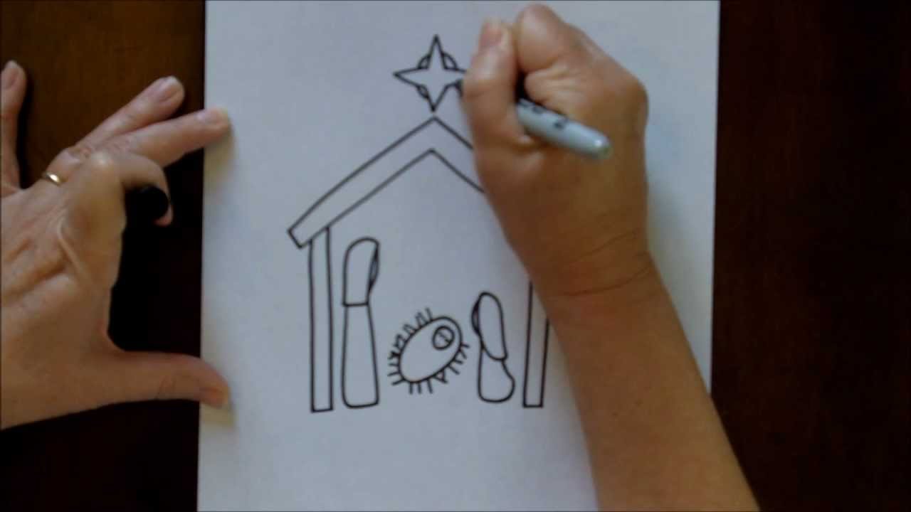 How to Draw a Nativity Scene Simple and Easy Drawing Tutorial for ...