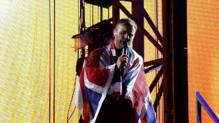 Gary Barlow wrapped in Team GB flag - Eight Letters - Progress Live - Wembley 9th July
