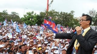 CNRP Leader Sam Rainsy return home to rescue Cambodia with all Khmer (18 July 2013)