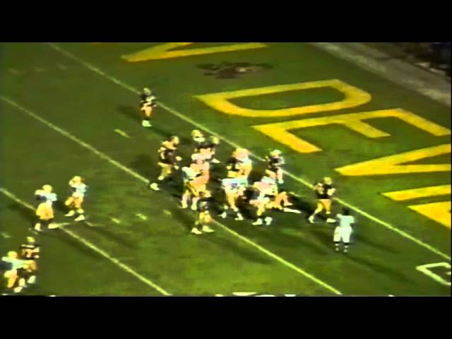 Oregon DT David Cusano and LB Peter Brantley sack ASU QB Daniel Ford 11-07-87