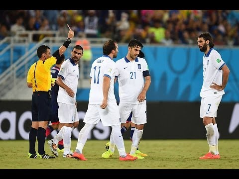 Konstantinos Katsouranis red card vs Japan 0-0 greece two yellow cards together