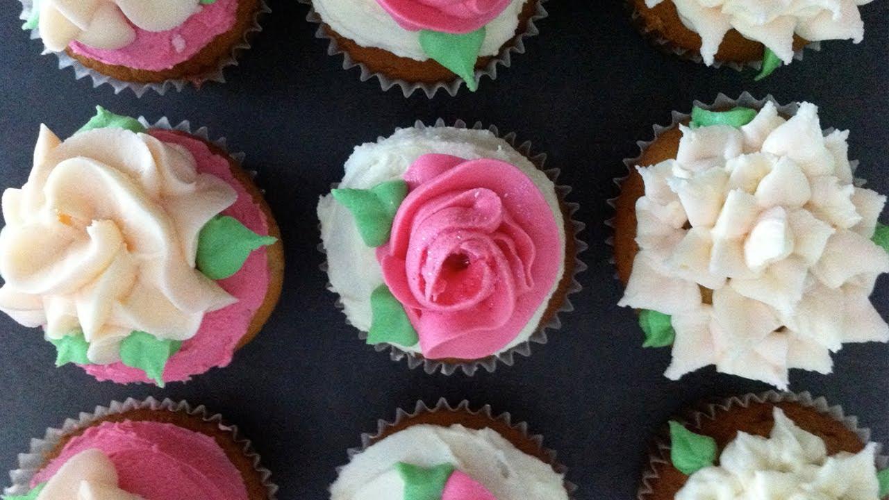 Ann's NEW easy buttercream roses flower cupcakes pt1 how ...