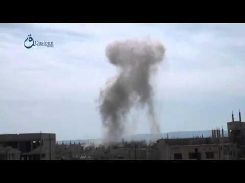 Qasioun News: Rif Dimashq: Smoke rising due to an airstrike targeting Deir Asafer town 13-2-2016
