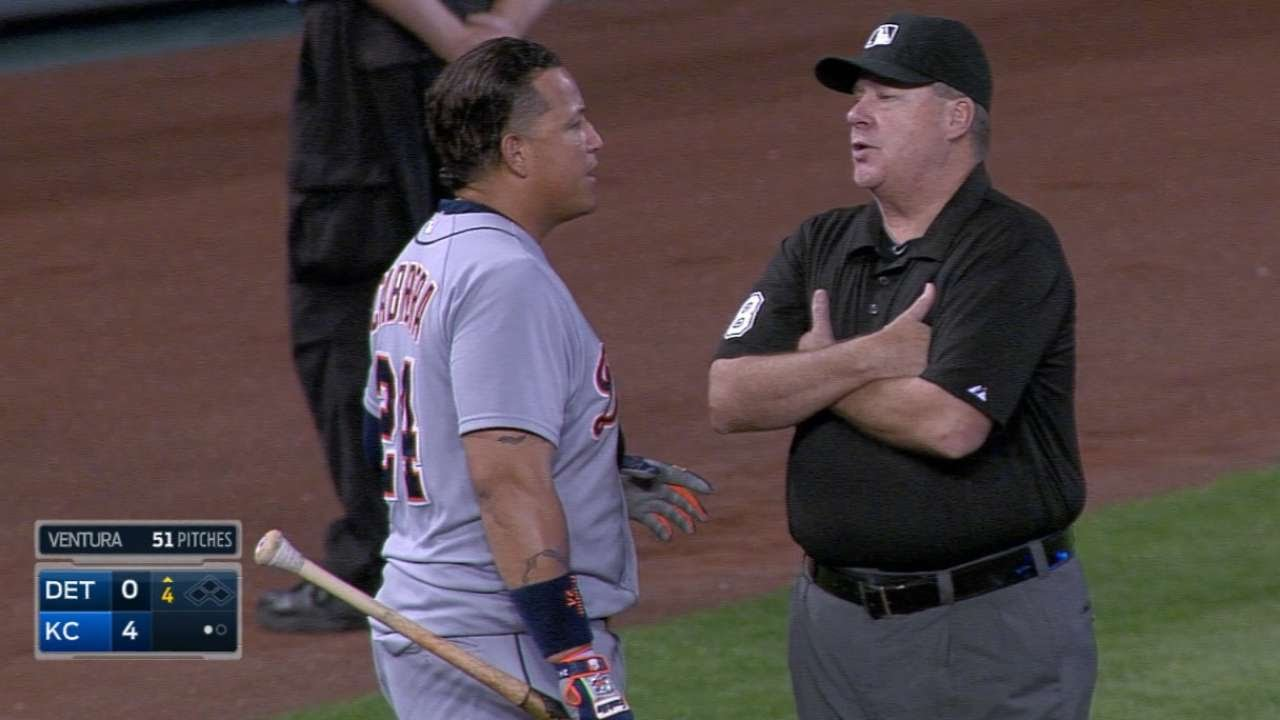 Miggy ejected after disputing a strikeout
