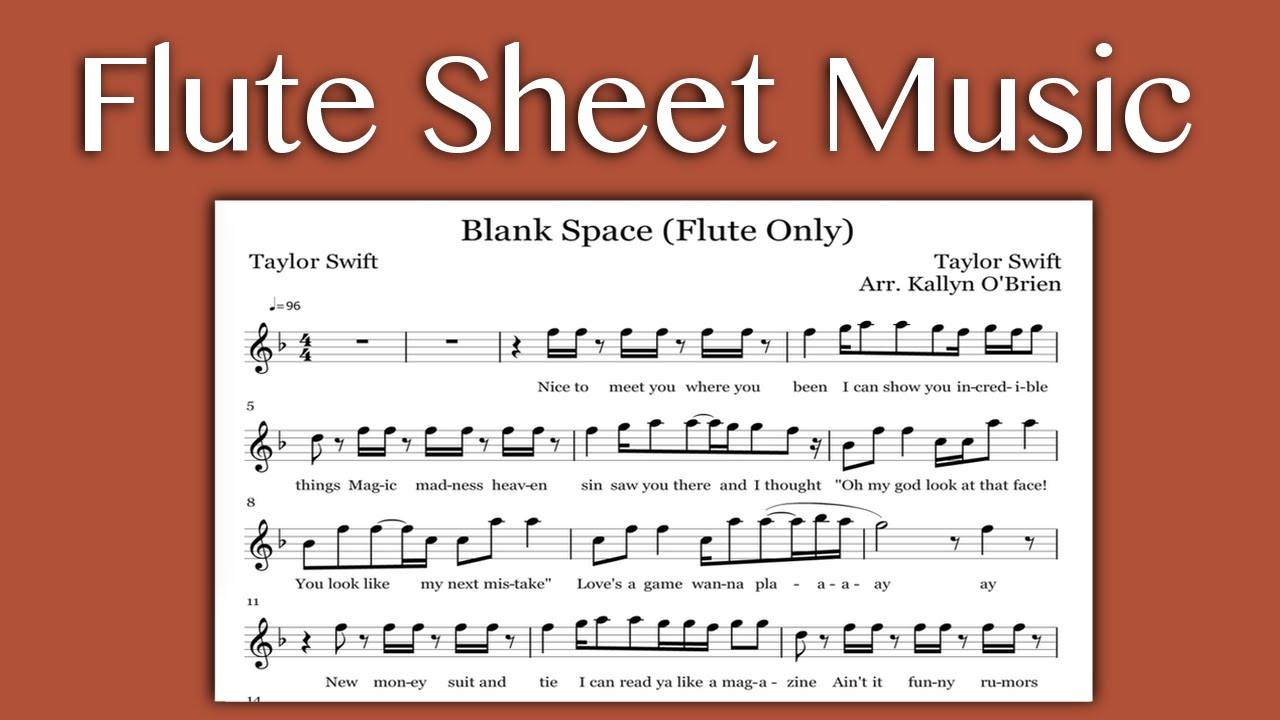 Blank Space - Taylor Swift (Flute Sheet Music) - YouTube