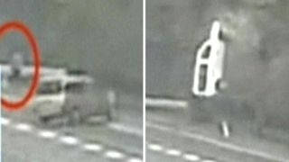 Out-of-control bus nearly hits pedestrian in dramatic crash
