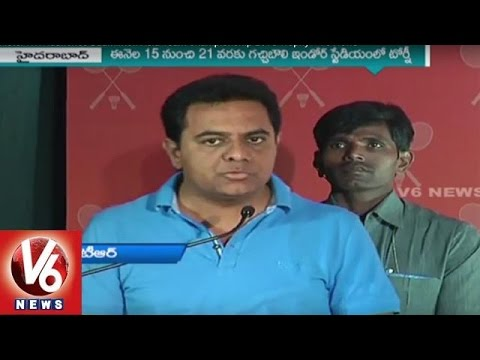 IT Minister KTR Launches Badminton Asia Team Championship 2016 Trophy | V6 News