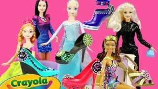 HOT HEELS Doll Shoes Frozen Elsa Anna Barbie Fashionistas How-to Design Your Own Crayola Creations