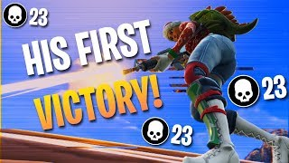 GIVING A PLAYER HIS FIRST WIN! 23 Kills Solo Squads (Fortnite Battle Royale)