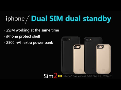 Two SIM Both Online Dual SIM Adapter + Extra Battery Cases for iPhone6(s)/6(s)plus/7/7plus