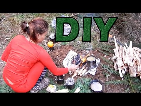 Bushcraft Camping - DIY flame grill campfire with meat and vegetables