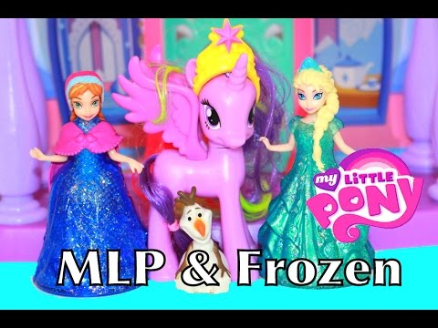 Alltoycollector Frozen Elsa & Anna Mlp Twilight Sparkle Kingdom Glitter Glider Magiclip Toy Review video