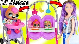 LOL Surprise Dolls + Lil Sisters Meet Skipper the Babysitter - Barbie Shops Toy Video