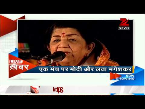 Narendra Modi shares stage with Lata Mangeshkar in Mumbai