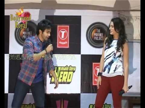Varun Dhawan & Nargis Fakhri promotion of the film 'Mein Tera Hero' at Mithibai College