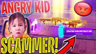 8 YEAR OLD ANGRIEST Scammer SCAMS Himself *SCAMMER GETS SCAMMED* In Fortnite Save The World