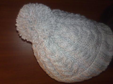 Зимняя шапка спицами мастер класс
