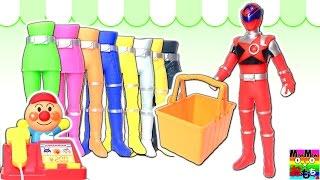 キュウレンジャー しゅつどう前にショッピング❤️シシレッドがアンパンマンコンビニへお買い物♪お店やさん 服 着替えごっこ★誰かわかるかな?クイズ 着せ替え人形 変身 人形劇 子供向け おもちゃアニメ