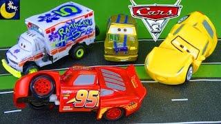 Disney Cars 3 Toys Crash, Race and Reck Lightning McQueen Cruz Ramirez Dr Damage Derby Wreck Toys