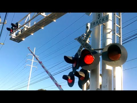 Jackson Road (CA 16) Railroad Crossings With Train Fast Pass Light Rail Train