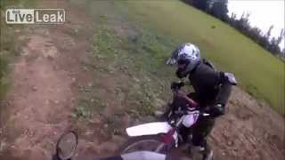 Offroad police chase 14 year old moped driver a round in a gravel pit