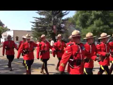 Drumheller RCMP march at Canada Day parade