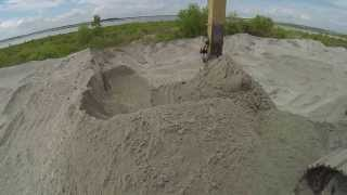 Caterpillar 349 Excvator Loading Sand On Volvo A40F Off Road Truck  ~ GoPro ~