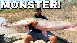 BIGGEST Freshwater FISH CAUGHT in MUDDY RIVER! *MEGALODON*