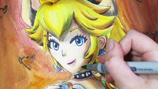 Copic Markers Speed Drawing: Nintendo Super Mario Bros Super Crown Bowsette