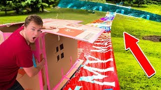 WORLDS BIGGEST BACKYARD WATERSLIDE IN A BOX FORT CHALLENGE!!